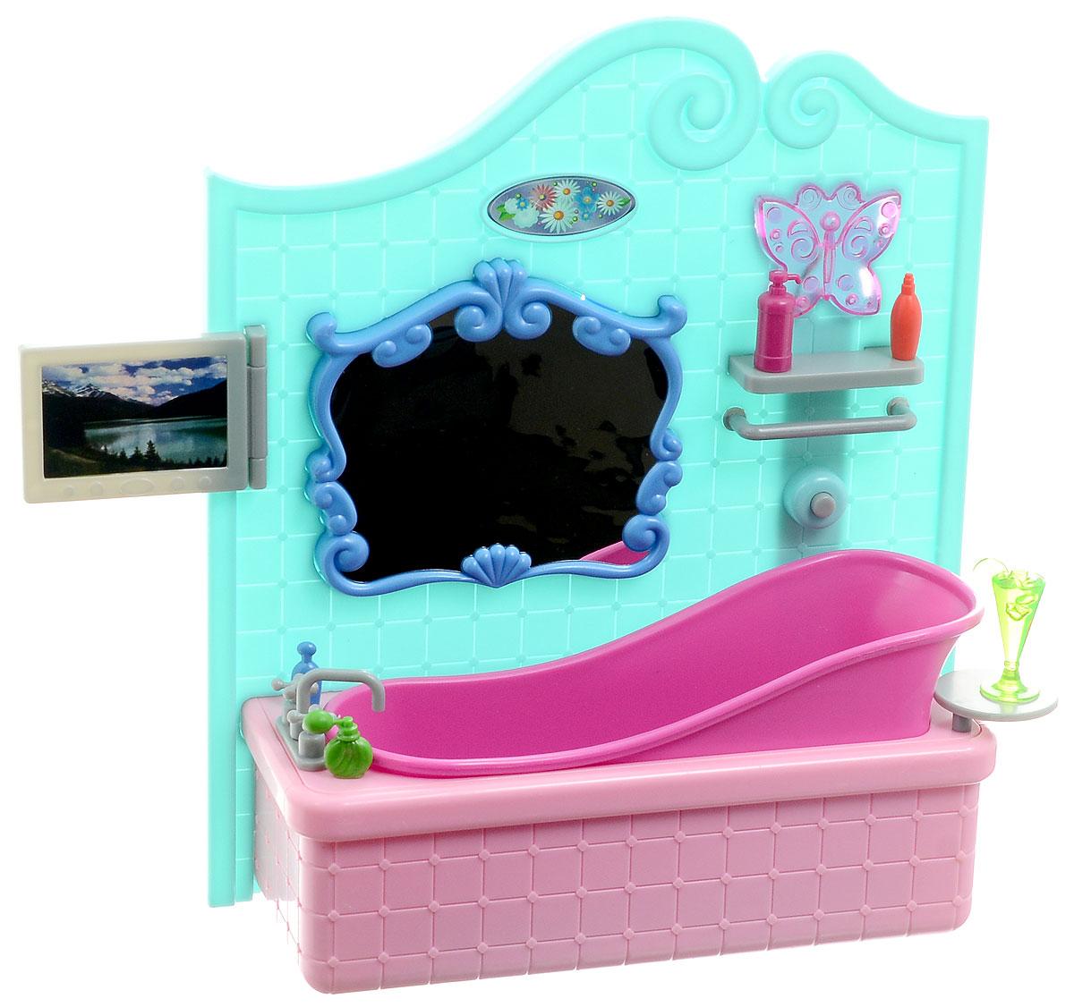 1TOY Набор мебели для кукол Ванная комната с телевизором Красотка красотка набор мебели для кукол гостиная с телевизором т52114 1toy