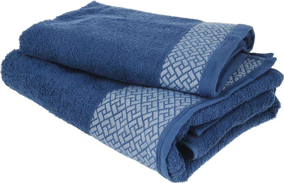 Набор полотенец Tete-a-Tete Лабиринт, цвет: синий, 2 шт. УНП-109-02к1004900000360Набор Tete-a-Tete Лабиринт состоит из двух махровых полотенец, выполненных из натурального 100% хлопка. Бордюр полотенец декорирован геометрическим узором. Изделия мягкие, отлично впитывают влагу, быстро сохнут, сохраняют яркость цвета и не теряют форму даже после многократных стирок. Полотенца Tete-a-Tete Лабиринт очень практичны и неприхотливы в уходе. Они легко впишутся в любой интерьер благодаря своей нежной цветовой гамме. Набор упакован в красивую коробку и может послужить отличной идеей подарка.