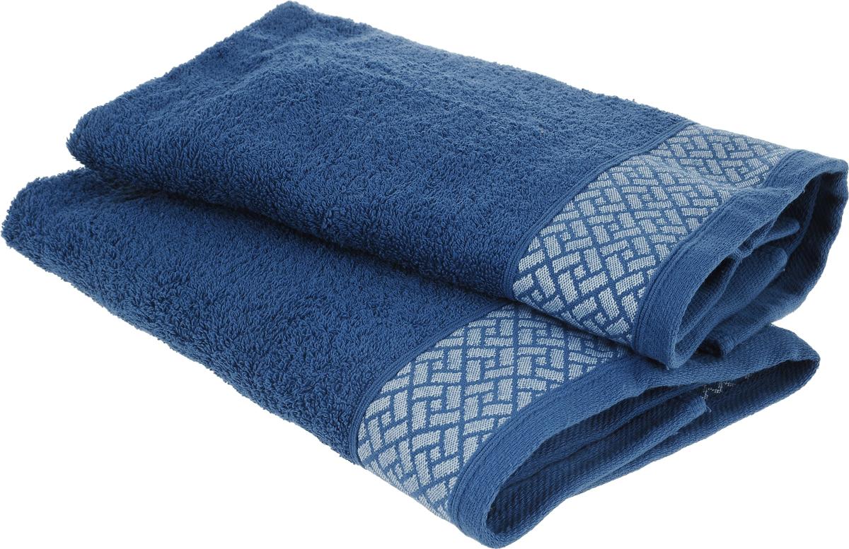Набор полотенец Tete-a-Tete Лабиринт, цвет: темно-синий, 50 х 90 см, 2 штC0042411Набор Tete-a-Tete Лабиринт состоит из двух махровых полотенец, выполненных из натурального 100% хлопка. Бордюр полотенец декорирован геометрическим узором. Изделия мягкие, отлично впитывают влагу, быстро сохнут, сохраняют яркость цвета и не теряют форму даже после многократных стирок. Полотенца Tete-a-Tete Лабиринт очень практичны и неприхотливы в уходе. Они легко впишутся в любой интерьер благодаря своей нежной цветовой гамме. Набор упакован в красивую коробку и может послужить отличной идеей подарка.
