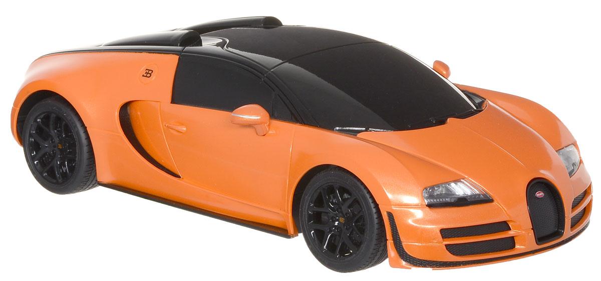 """Радиоуправляемая модель Rastar """"Bugatti Veyron 16.4 Grand Sport Vitesse"""" станет отличным подарком не только мальчику, но и взрослому! Все дети хотят иметь в наборе своих игрушек ослепительные, невероятные и крутые автомобили на радиоуправлении. Тем более, если это автомобиль известной марки с проработкой всех деталей, удивляющий приятным качеством и видом. Одной из таких моделей является автомобиль на радиоуправлении Rastar """"Bugatti Veyron 16.4 Grand Sport Vitesse"""". Это точная копия настоящего авто в масштабе 1:18. Авто обладает неповторимым стилем и спортивным характером. Потрясающая маневренность, динамика и покладистость - отличительные качества этой модели. Возможные движения: вперед-назад, вправо-влево, остановка. Имеются световые эффекты. Пульт управления работает на частоте 27 MHz. Для работы игрушки необходимы 4 батарейки типа АА (не входят в комплект). Для работы пульта управления необходимы 2 батарейки типа АА (не входят в комплект)."""