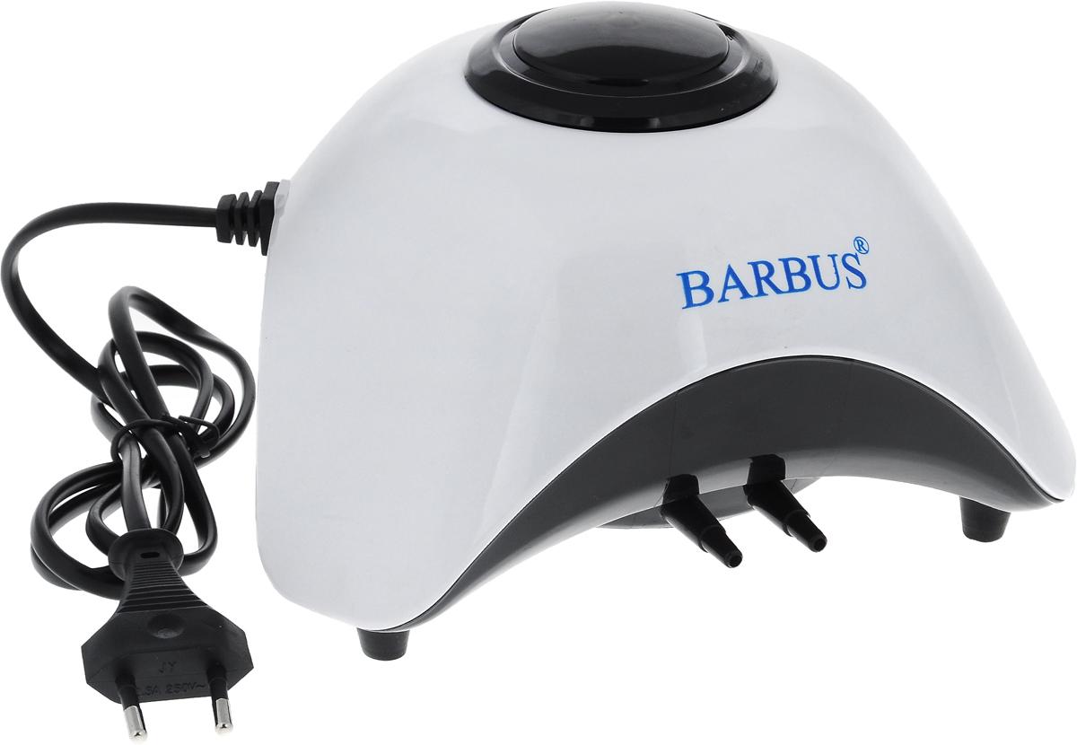 Компрессор аквариумный Barbus SB-860A, с плавным регулятором мощности, 2 канала х 6 л/мин, 10 ВтAIR 011Аквариумный компрессор Barbus SB-860A выполнен из прочного пластика. Длительный срок службы изделия гарантирует современная воздушно-компрессионная система. Крайне низкий уровень шума обеспечивают уплотненные многоуровневые стенки корпуса. Компрессор оснащен 2 каналами. Резиновые опоры снимают вибрацию. Плавный регулятор обеспечивает равномерную регулировку подачи воздуха.Объем аквариума: 100-450 л.Производительность: 2 канала х 6 л/мин.Напряжение: 220-240В.Частота: 50-60 Гц. Уважаемые клиенты!Обращаем ваше внимание навозможныеизмененияв цветенекоторых деталейтовара. Поставка осуществляется в зависимости от наличия на складе.