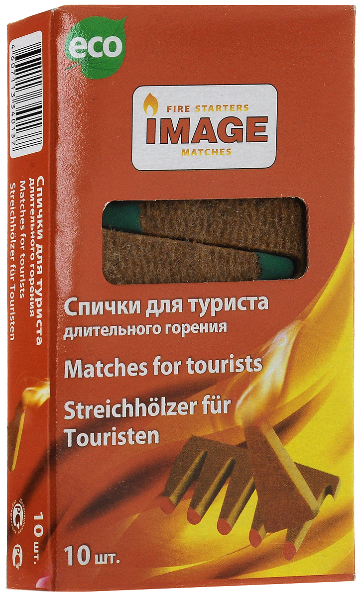 Спички длительного горения Image Турист, длина 5 см, 10 шт010-01199-23Спички Image Турист используются для разжигания угля, дров, камина, барбекю, костра при любых погодных условиях. Состав: картон, ДВП, парафин, чиркаш.Длина спичек: 5 см.