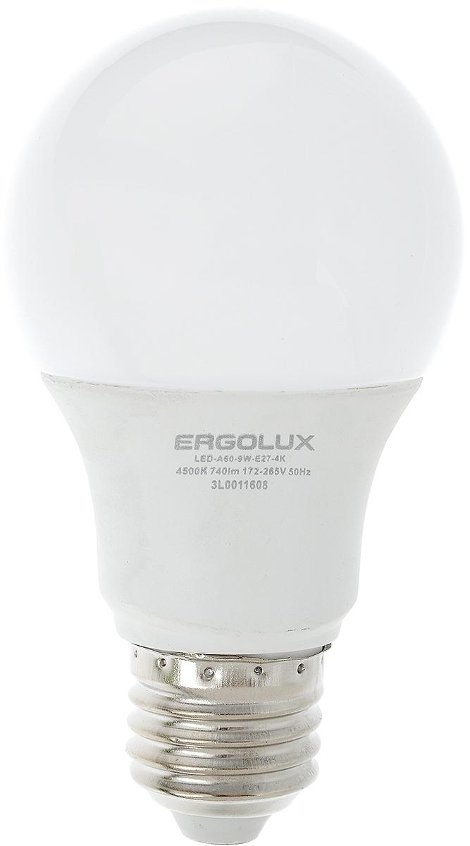 Лампа светодиодная Ergolux, цоколь E27, 9W, 4500К12145Светодиодная лампа Ergolux - новое решение в светотехнике. Светодиодная лампа экономит много электроэнергии благодаря низкой потребляемой мощности. Она идеальна для основного и акцентного освещения интерьеров, витрин, декоративной подсветки. Кроме того, создает уютную атмосферу и позволяет экономить электроэнергию уже с первого дня использования.Не содержит ртути и не требует переработки. Срок службы в 2,5-3 раза дольше энергосберегающей лампы и в 30 раз дольше лампы накаливания. Высокая ударопрочность благодаря металло-пластиковому корпусу. Мгновенное включения. Без мерцания. Напряжение: 172-265 В. Угол светового пучка: 270°. Эффективность: 82 лм/Вт.Тип: А60. Индекс цветопередачи: 77+.Рабочая температура: -30 - +40°С.