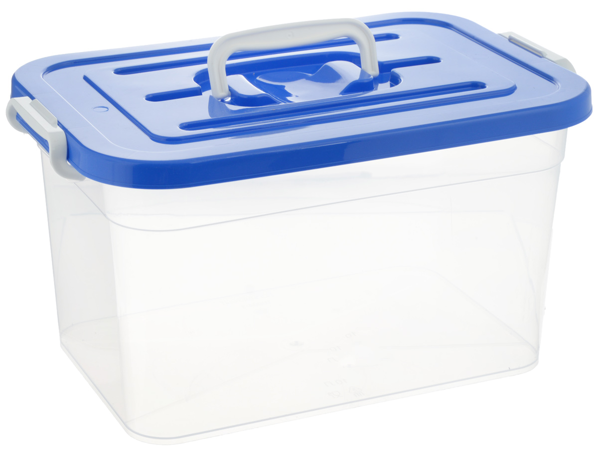 Контейнер для хранения Полимербыт, цвет: прозрачный, синий, 10 лS03301004Контейнер для хранения Полимербыт выполнен из высококачественного полипропилена. Изделие снабжено удобной ручкой и двумя фиксаторами по бокам, придающими дополнительную надежность закрывания крышки. Вместительный контейнер позволит сохранить различные нужные вещи в порядке, а герметичная крышка предотвратит случайное открывание, а также защитит содержимое от пыли и грязи.