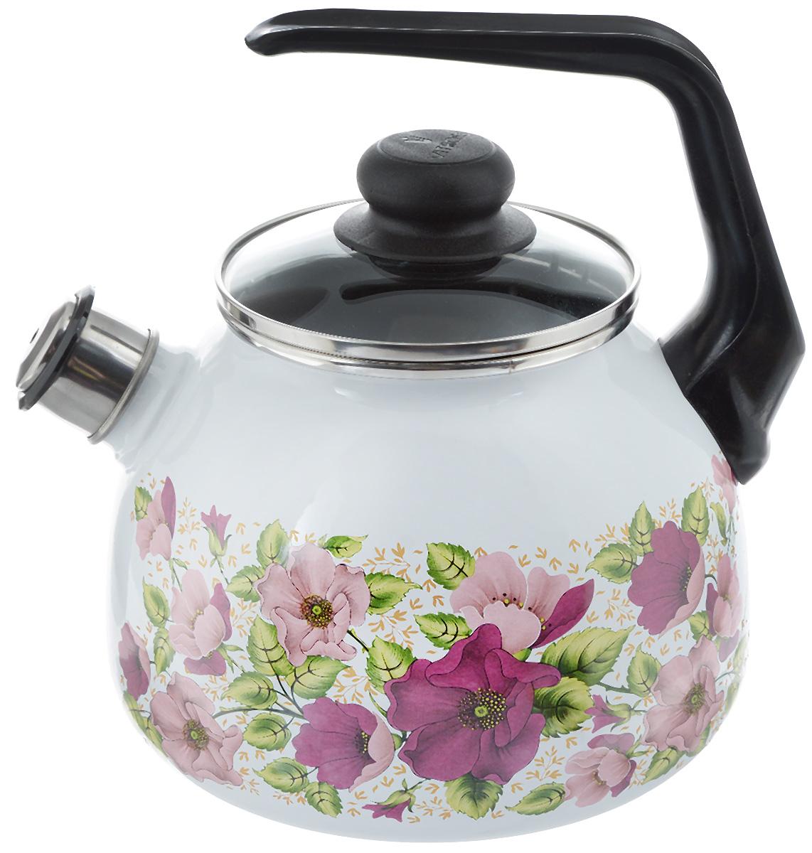 Чайник эмалированный Vitross Violeta, со свистком, 3 лVT-1520(SR)Чайник эмалированный Vitross Violeta изготовлен из высококачественной стали со стеклокерамическим эмалевым покрытием. Стеклокерамика инертна и устойчива к пищевым кислотам, не вступает во взаимодействие с продуктами и не искажает их вкусовые качества. Такое покрытие защищает сталь от коррозии и придает посуде гладкую стекловидную поверхность. Кроме того, такая посуда наиболее безопасна и экологична. Прочный стальной корпус обеспечивает эффективный нагрев жидкости и не деформируется в процессе эксплуатации. Чайник оснащен фиксированной пластиковой ручкой и жаропрочной стеклянной крышкой. Носик чайника с насадкой-свистком подскажет, когда закипела вода. Посуда подходит для газовых, электрических, стеклокерамических, индукционных плит. Можно мыть в посудомоечной машине. Диаметр (по верхнему краю): 12,5 см.Высота чайника (с учетом ручки): 23,5 см.Высота чайника (без учета ручки и крышки): 15 см.
