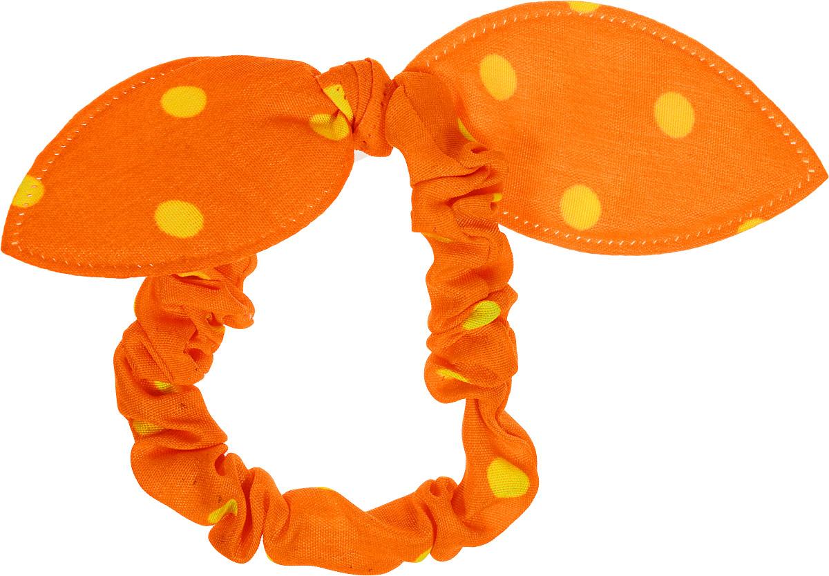 Magic Leverage Резинка для волос, цвет: оранжевый, желтыйСерьги с подвескамиСтильная резинка для волос Magic Leverage подчеркнет красоту вашей прически. Резинка выполнена из мягкого текстильного материала и оформлена стильным принтом в горох, а также дополнена оригинальным бантиком, который будет великолепно смотреться в ваших волосах. С помощью такой резинки вы сможете создать множество оригинальных причесок. Яркость и удобство резинки для волос делают ее практичным и модным аксессуаром.