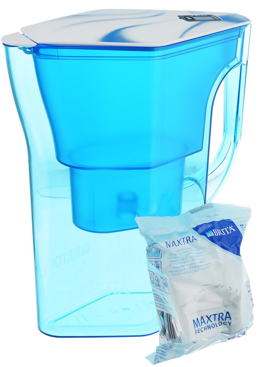 Фильтр-кувшин Brita Навелия, цвет: синий, 2,3 лВетерок 2ГФФильтр-кувшин Brita Навелия, выполненный из пластика, станет необходимым помощником на вашей кухне. Вода, очищенная данным фильтром обладает рядом преимуществ:- улучшает вкус горячих и холодных напитков, - увеличивает срок службы бытовых приборов, препятствуя образованию накипи, - идеальна для приготовления вкусной и здоровой пищи, - придает более насыщенный вкус и аромат чаю и кофе. Технология фильтра Maxtra снижает содержание в воде таких веществ, как хлор, алюминий, тяжелые металлы (свинец и медь), некоторые пестициды и органические примеси. Также он отфильтровывает соли жесткости.Особенности данного фильтра: - только для Maxtra, - календарь: электронный индикатор ресурса кассеты будет автоматически напоминать вам о необходимости заменить кассету через каждые 4 недели использования, - эргономичный дизайн, - фильтр можно мыть в посудомоечной машине (за исключением крышки), - модель помещается в дверце холодильника.Фильтры Brita имеют уникальную систему очистки, которая помогает смягчить питьевую воду. Они предлагают идеальную возможность улучшить качество питьевой воды дома. Фильтры Brita не только снижают образование известкового налета (карбонатной жесткости), но также эффективно отфильтровывают хлор и металлы, например свинец и медь, которые могут содержаться в системе водопровода. Общий объем фильтра: 2,3 л.Полезный объем: 1,3 л.