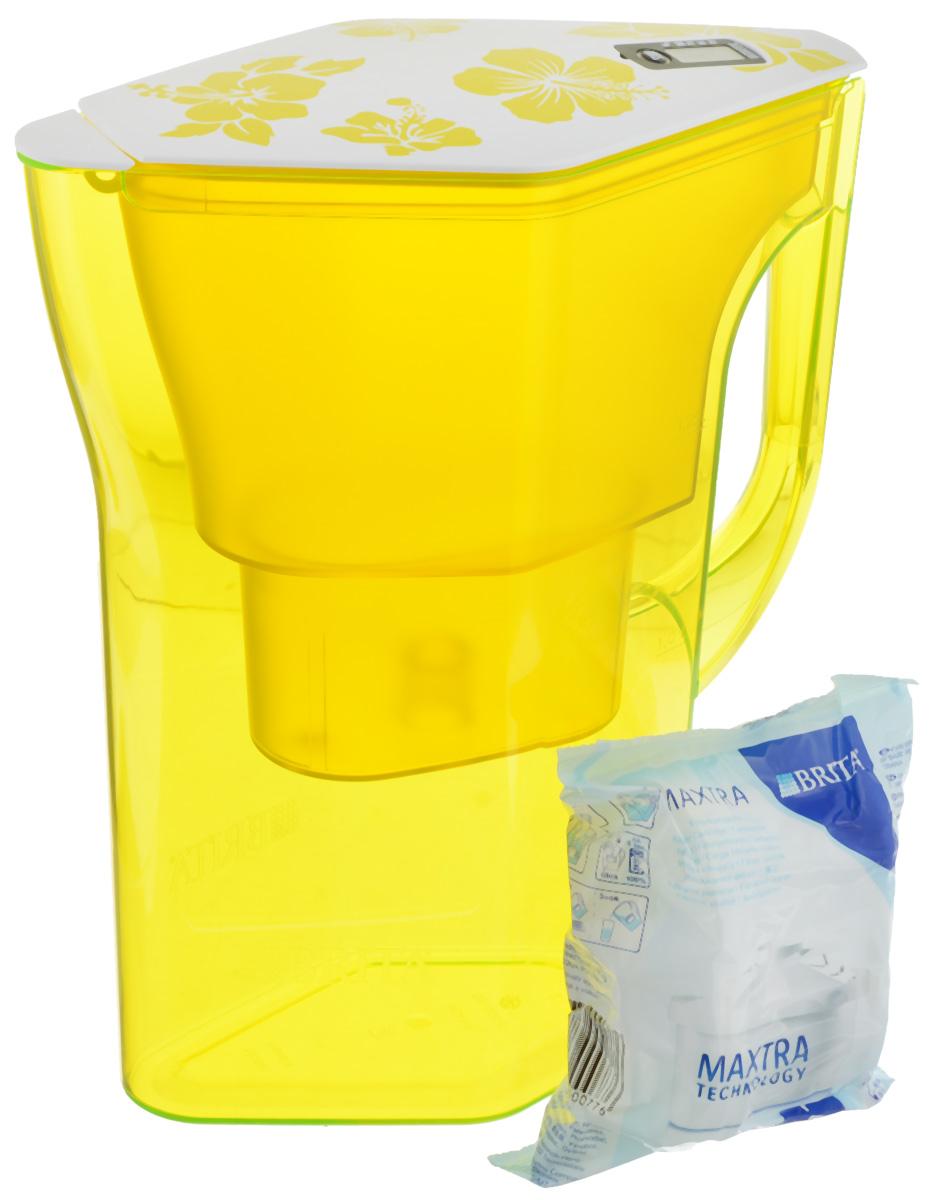 Фильтр-кувшин Brita Навелия, цвет: желтый, 2,3 л21395599Фильтр-кувшин Brita Навелия, выполненный из пластика, станет необходимым помощником на вашей кухне. Вода, очищенная данным фильтром обладает рядом преимуществ:- улучшает вкус горячих и холодных напитков, - увеличивает срок службы бытовых приборов, препятствуя образованию накипи, - идеальна для приготовления вкусной и здоровой пищи, - придает более насыщенный вкус и аромат чаю и кофе. Технология фильтра Maxtra снижает содержание в воде таких веществ, как хлор, алюминий, тяжелые металлы (свинец и медь), некоторые пестициды и органические примеси. Также он отфильтровывает соли жесткости.Особенности данного фильтра: - только для Maxtra, - календарь: электронный индикатор ресурса кассеты будет автоматически напоминать вам о необходимости заменить кассету через каждые 4 недели использования, - эргономичный дизайн, - фильтр можно мыть в посудомоечной машине (за исключением крышки), - модель помещается в дверце холодильника.Фильтры Brita имеют уникальную систему очистки, которая помогает смягчить питьевую воду. Они предлагают идеальную возможность улучшить качество питьевой воды дома. Фильтры Brita не только снижают образование известкового налета (карбонатной жесткости), но также эффективно отфильтровывают хлор и металлы, например свинец и медь, которые могут содержаться в системе водопровода. Общий объем фильтра: 2,3 л.Полезный объем: 1,3 л.