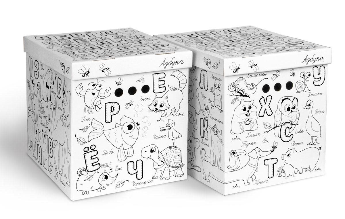 Коробка-раскраска для хранения Valiant Азбука, складная, 28 x 38 x 31,5 см, 2 шт810560Легкие и прочные коробки Valiant Азбука, выполненные из картона, оформлены черно-белыми изображениями, которые ваш ребенок может самостоятельно раскрасить. В комплект входят две коробки. Благодаря прорезным ручкам с двух сторон коробки удобно поднимать и переносить. Изделия оснащены крышками. Коробки являются самосборными, на упаковке имеется инструкция по сборке. Благодаря вместительности коробок вы сможете сэкономить место в вашем доме. Коробки подходят для хранения детских игрушек, одежды и других аксессуаров.