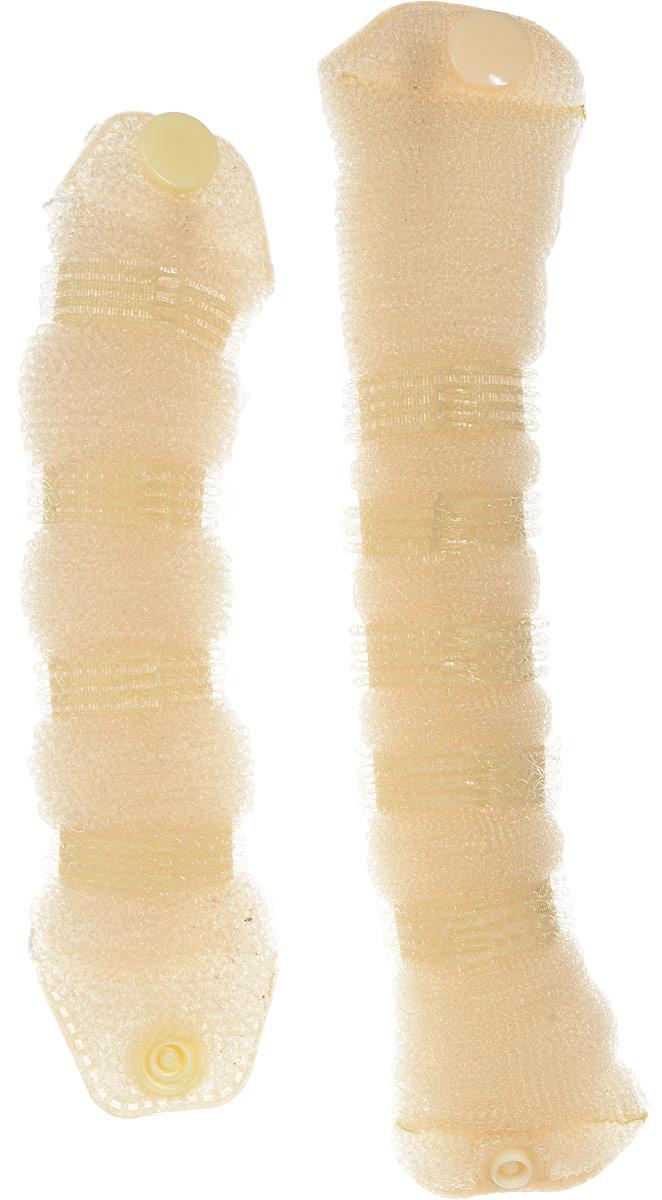 Magic Leverage Валик для волос Hot Buns плюс, цвет: белыйSB 603Валики предназначены для создания еще большего объема прически. Изготовлены из нейлоновой сетки - легкая и эластичная для удобного ношения, прекрасно фиксируется шпильками и заколками. Имеет удобную застежку.В комплекте 2 валика.Цвета: белый, черный.Диаметр: 7 и 9 см