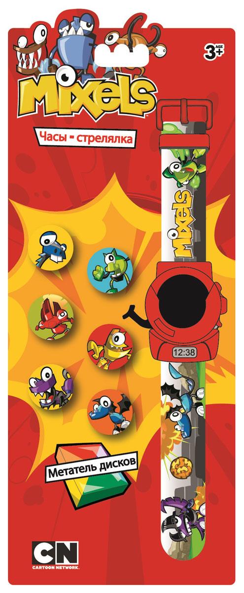 Часы-стрелялка наручные электронные Метатель дисков Mixels, цвет: серый. MX34571BP-001 BKЭлектронные наручные часы Mixels Метатель дисков - действительно интересный детский аксессуар для мальчиков. В часах установлен специальный механизм, который позволяет пускать диски с изображениями героя мультфильма при нажатии на боковые кнопки. Дисплей цифровой. Показывает время, секунды и дату. Часы изготовлены из высококачественных материалов и очень удобны. Циферблат защищен от царапин, широкий ремешок не будет натирать руку. Яркая привлекательная упаковка - объемный блистер с отверстием для подвешивания. 6 дисков, 1 сменный элемент (LR41 (AG3) 1.5 V) включены в комплект. Рекомендуемый возраст: от 3 лет.