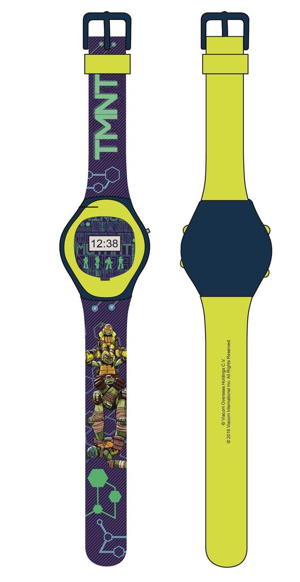 Часы наручные электронные Черепашки Ниндзя, цвет: зеленый. NT30108BM8434-58AEЭлектронные детские часы с корпусом и браслетом из пластика. Циферблат защищен от повреждений прочным пластиковым стеклом. Товар изготовлен полностью из пластмассы с питанием от химических источников тока, 1 сменный элемент включен в комплект (LR41 (AG3) 1.5 V). Рекомендуемый возраст: от 3 лет.