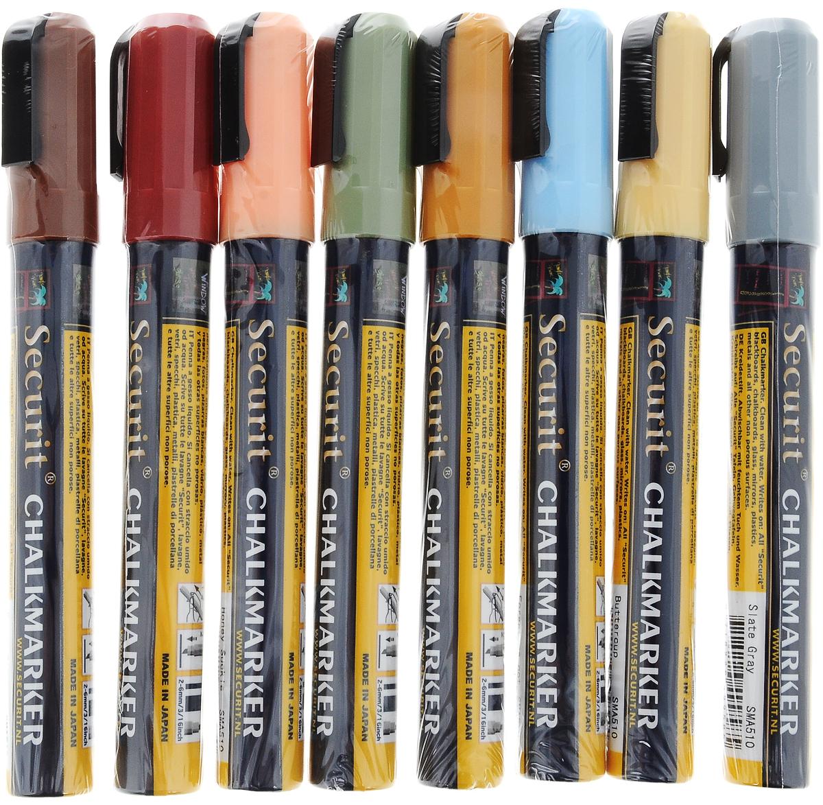 Маркеры для сообщений Securit, 8 шт72523WDМаркеры для сообщений Securit - это набор из 8 меловых маркеров цвета зеленого мха, коричневого, светло-желтого, серого, светло-оранжевого, голубого, вишневого, оранжевого цветов. Меловые маркеры позволяют наносить стираемые надписи на любые непористые поверхности - стекло, зеркала, пластик, металл или специальные покрытия и доски. Теперь вы сможете рисовать, делать заметки и отставлять послания для друзей и близких где угодно. Чтобы смыть надпись, достаточно просто протереть ее мокрой губкой. Толщина линии: 2-6 мм.Длина маркера: 14,5 см.