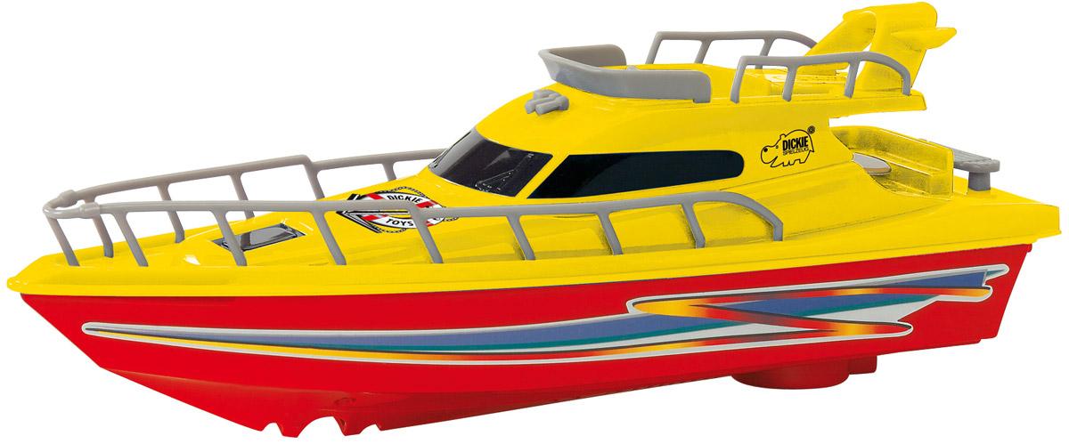 """Яхта с турбодвигателем Dickie Toys """"Ocean Dream"""", выполненная из качественных материалов, поможет вашему ребенку почувствовать себя настоящим морским спасателем. Колеса у яхты свободно вращаются. Такая игрушка разнообразит игровые ситуации, откроет новые сюжеты для маленького автолюбителя и поможет развить мелкую моторику рук, внимание и координацию движений. Не упустите шанс порадовать своего малыша замечательным подарком! Для работы игрушки необходима 1 батарейка типа AA (не входит в комплект)."""