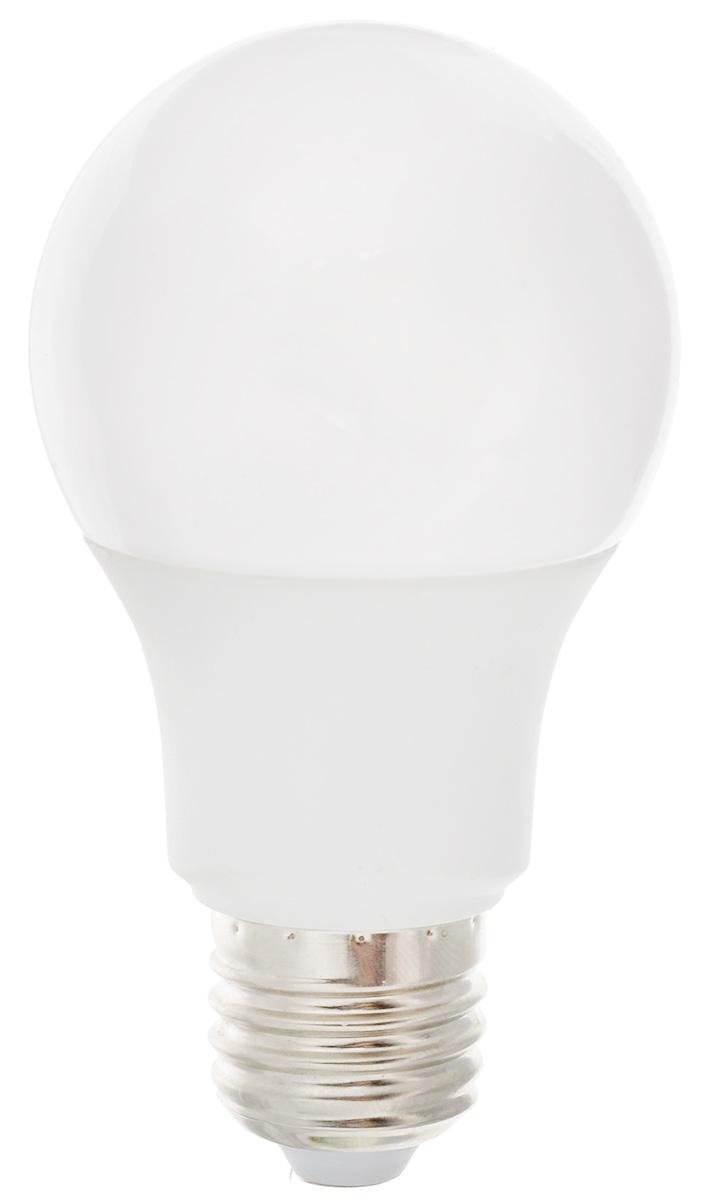 Лампа светодиодная Ergolux LED-A60-9W-E27-3K, теплый свет, цоколь Е27, 9 ВтTL-35W-F1Лампа светодиодная Ergolux - новое решение в светотехнике. Светодиодная лампа экономит до 90% электроэнергии благодаря низкой потребляемой мощности. Лампа не содержит ртути и других вредных веществ, экологически безопасна и не требует утилизации. Срок службы в 2,5-3 раза дольше энергосберегающей лампы и в 30 раз дольше лампы накаливания. Обладает высокой ударопрочностью благодаря корпусу из пластика и металла. Мгновенно включается, не мерцает во время работы. Светодиодные лампы идеально подходят для основного и акцентного освещения интерьеров, витрин, декоративной подсветки. Кроме того, они создают уютную атмосферу и позволяют экономить электроэнергию уже с первого дня использования. Мощность: 9 Вт.Цоколь: Е27.Теплый свет: 3000К.Тип: А60. Эффективность: 78 лм/Вт. Световой поток: 700 лм.Напряжение: 172-265 В. Индекс цветопередачи (Ra): 77+.Угол светового пучка: 270°. Использовать при температуре: от -30° до +40°С.Коэффициент пульсации: <5%.