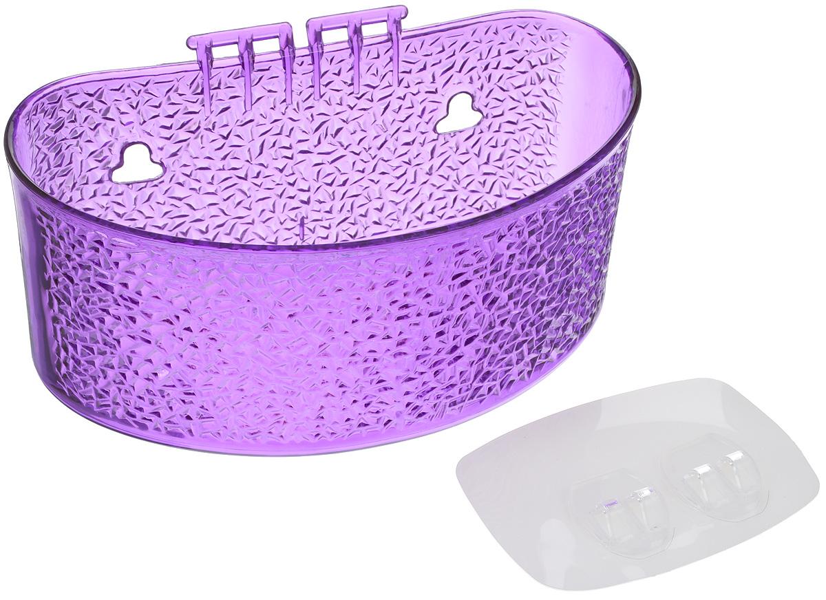 Полка для ванной комнаты Fresh Code, на липкой основе, цвет: фиолетовый, 19 х 10 х 10 см74-0060Полка для ванной комнаты Fresh Code выполнена из ABS пластика. Крепление на липкой основе многократного использования идеально подходит для гладкой поверхности. Полка поможет создать настроение вашей ванной комнаты. Подходит для всех типов гладких поверхностей. Максимальная нагрузка 3 кг.