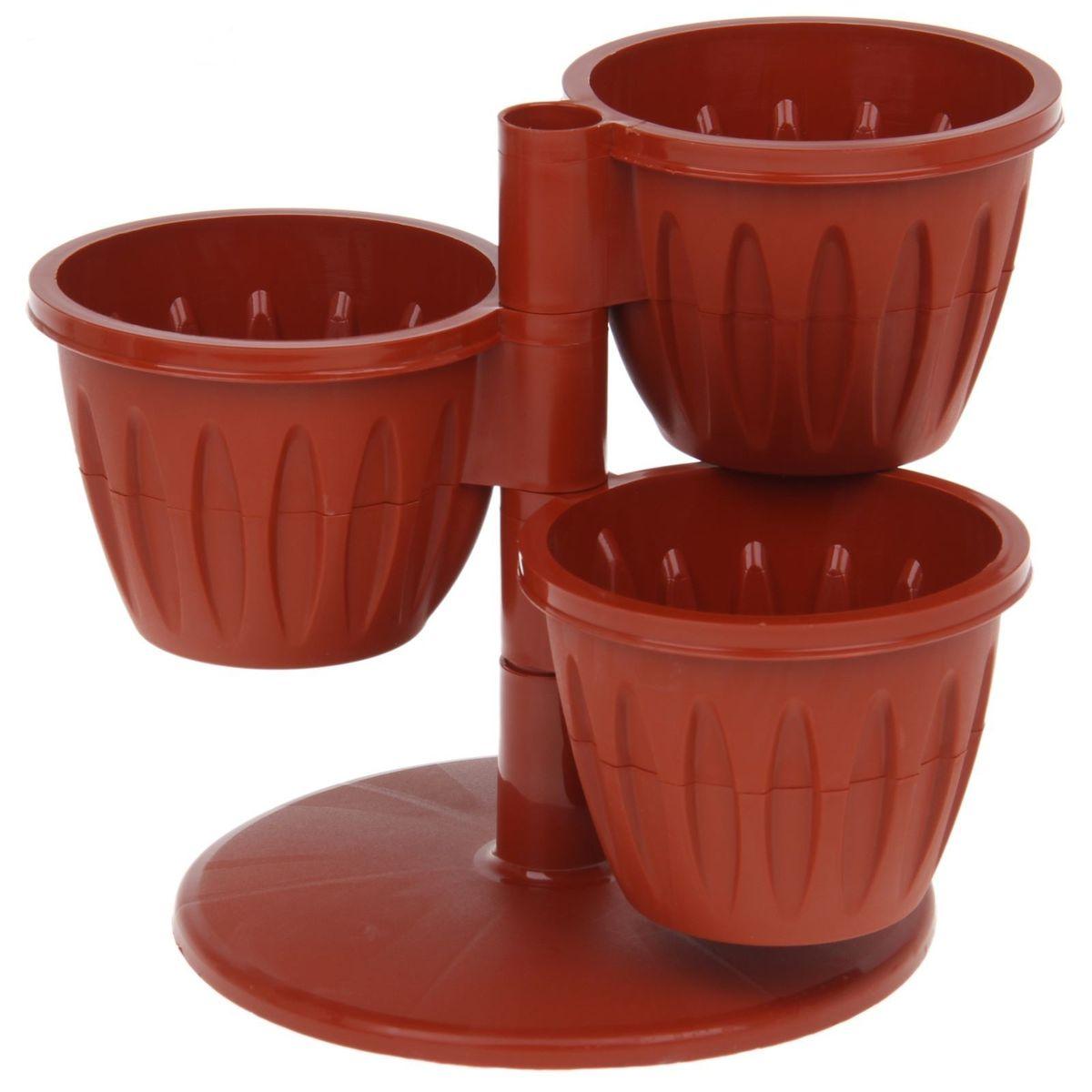 Каскад цветочный JetPlast Каскад, с подставкой, цвет: терракот, высота 23 см531-401Цветочный каскад JetPlast Каскад состоит из трех горшков, установленных на одну подставку. Каждый горшок состоит из двух частей: в верхнюю высаживается растение, а нижняя часть используется как резервуар для воды. Цветочный каскад позволяет вам эффективно использовать площадь подоконника для высадки растений.Высота каскада: 23 см. Диаметр горшка по верхнему краю: 13,5 см. Диаметр дна горшка: 7,8 см. Высота горшка: 10 см.