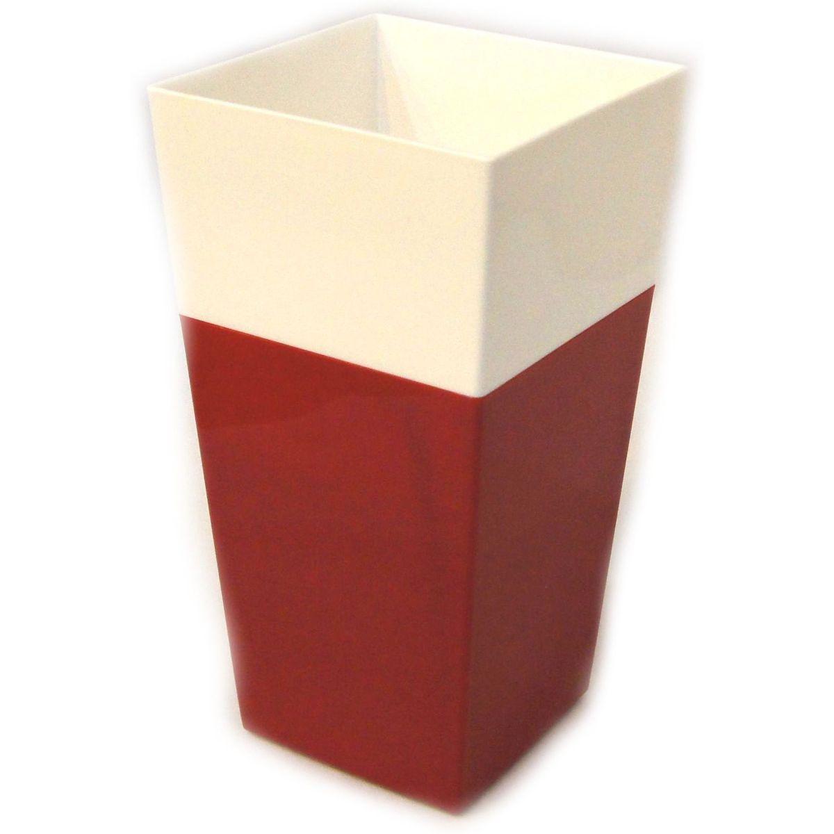 Кашпо JetPlast Дуэт, цвет: красный, белый, высота 34 см531-303Кашпо имеет строгий дизайн и состоит из двух частей: верхней части для цветка и нижней – поддона. Конструкция горшка позволяет, при желании, использовать систему фитильного полива, снабдив горшок веревкой. Оно изготовлено из прочного полипропилена (пластика).Размеры кашпо: 18 х 18 х 34 см.