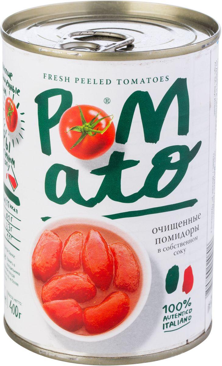 Pomato помидоры очищенные в собственном соку, 400 г0120710Помидоры Pomato - сочные вкусные итальянские помидоры, выращенные под неаполитанским солнцем на вулканических почвах у подножия Везувия. Только отборные помидоры, бережно упакованные в течение нескольких часов после сбора.
