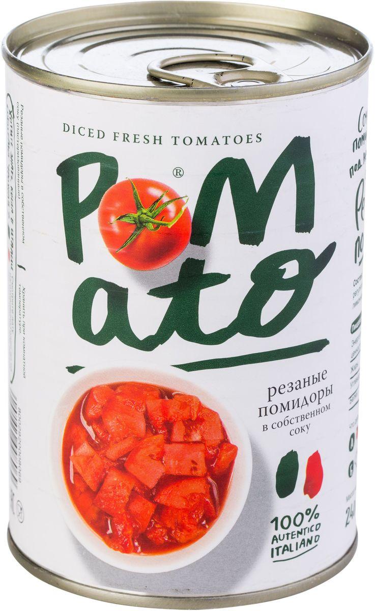 Pomato помидоры резаные в собственном соку, 400 г0120710Помидоры Pomato - сочные вкусные итальянские помидоры, выращенные под неаполитанским солнцем на вулканических почвах у подножия Везувия. Только отборные помидоры, бережно упакованные в течение нескольких часов после сбора.