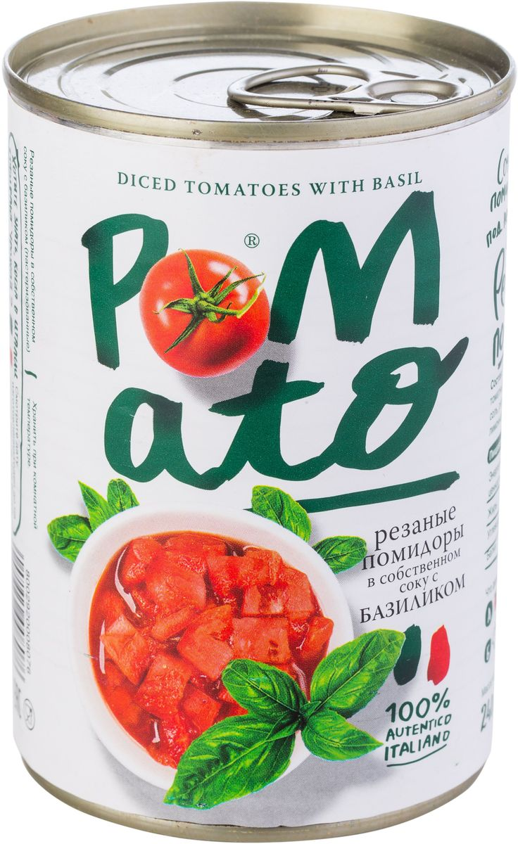 Pomato помидоры резаные в собственном соку с базиликом, 400 г3798Помидоры Pomato - сочные вкусные итальянские помидоры, выращенные под неаполитанским солнцем на вулканических почвах у подножия Везувия. Только отборные помидоры, бережно упакованные в течение нескольких часов после сбора.