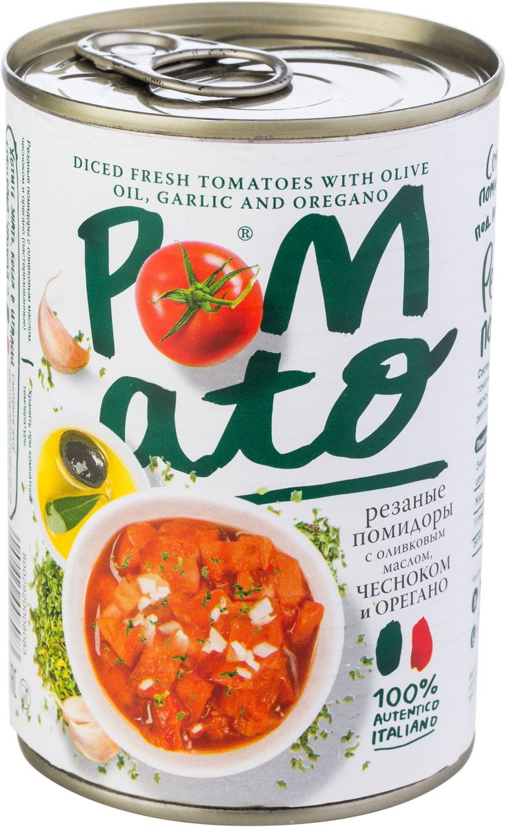 Pomato помидоры резаные с оливковым маслом чесноком и орегано, 400 г0120710Помидоры Pomato - сочные вкусные итальянские помидоры, выращенные под неаполитанским солнцем на вулканических почвах у подножия Везувия. Только отборные помидоры, бережно упакованные в течение нескольких часов после сбора.