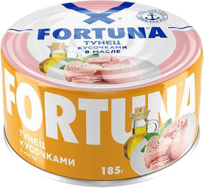 Fortuna тунец кусочками в масле, 185 г26119Крупные сочные кусочки филе тунца в подсолнечном масле с нежным изысканным вкусом.