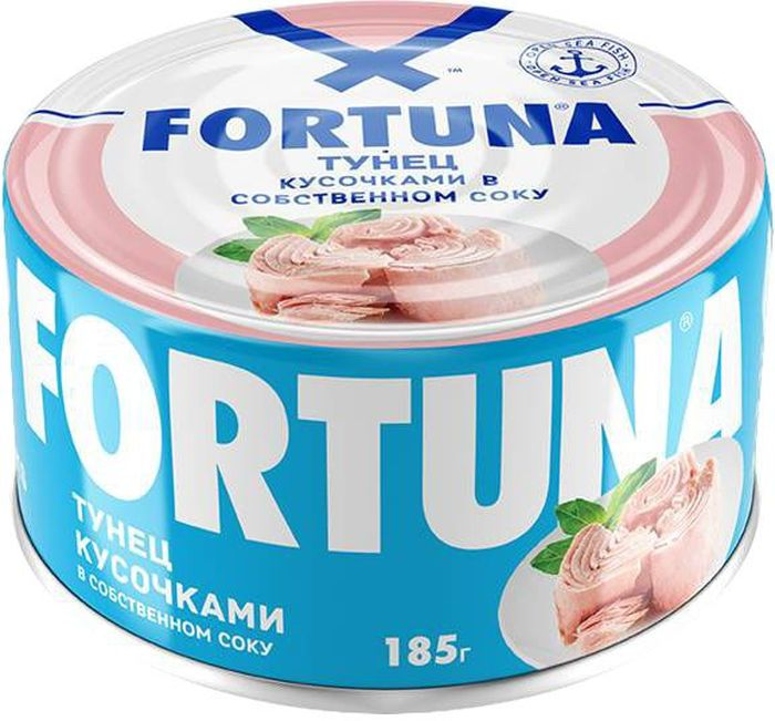 Fortuna тунец кусочками в собственном соку, 185 ггре001Крупные сочные кусочки филе тунца в собственном соку с нежным изысканным вкусом.