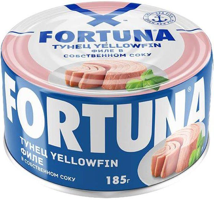 Fortuna тунец филе в собственном соку, 185 г0120710Плотное мясо нежно-розового цвета в собственном соку.Вкусное, легкое и полезное диетическое блюдо, богатое белками,витамином D, жирными кислотами Омега-3, селеном, калием и натрием.