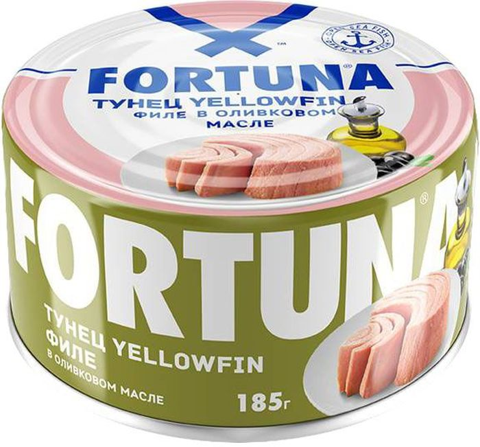 Fortuna тунец филе Yellowfin в оливковом масле, 185 г0120710Плотное мясо нежно-розового цвета в натуральномоливковоммасле.Вкусное, легкое и полезное диетическое блюдо, богатое белками,витамином D, жирными кислотами Омега-3, селеном, калием и натрием.