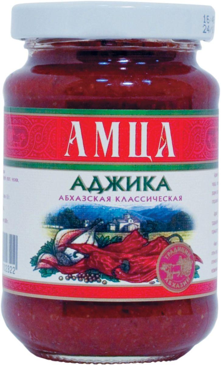 Амца аджика абхазская классическая, 200 г0120710Аджика Амца производится из уникального сорта красного острого перца, который заботливо выращивается в горных селах Абхазии, на родине аджики. Яркие колоритные связки перца сушатся и хранятся на открытом горном воздухе. Аджика Амца готовится только из натуральных компонентов по традиционному старинному рецепту с добавлением чистейшей воды из горных источников.