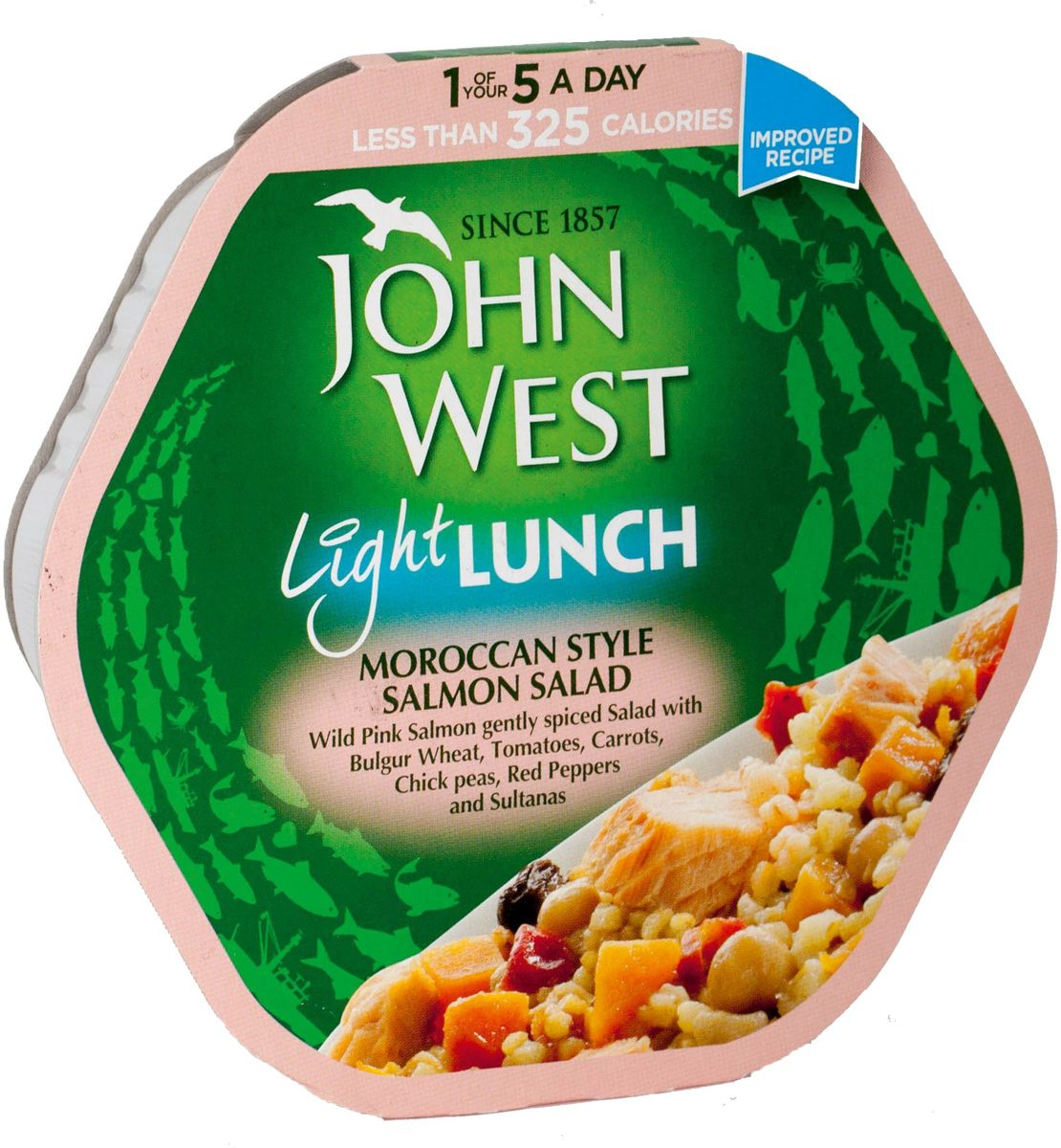 John West легкий обед с лососем марокканский, 220 г0120710Легкий и вкусный обед с пониженным содержанием жиров создан без добавления ароматизаторов, синтетических красителей и консервантов.
