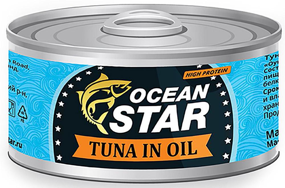 Ocean Star тунец филе в масле, 185 г0501611071220001100% настоящий тунец. Мы сохранили вкус свежевыловленного тунца, бережно спрятав его в экологичной банке. Открывая баночку Ocean Star, вы можете быть уверены, что внутри настоящий желтоперый тунец, выловленный в акватории Южно-Китайского моря. Вы оцените тунец Ocean Star, который станет достойным дополнением к любому из известных вам блюд. Наш тунец легко усваивается организмом, потому что он вырос в чистых теплых морских водах и сохранен без применения химических добавок. Тунец Ocean Star филе c добавлением растительного масла придает особенный вкус традиционному продукту, делая его еще более питательным.