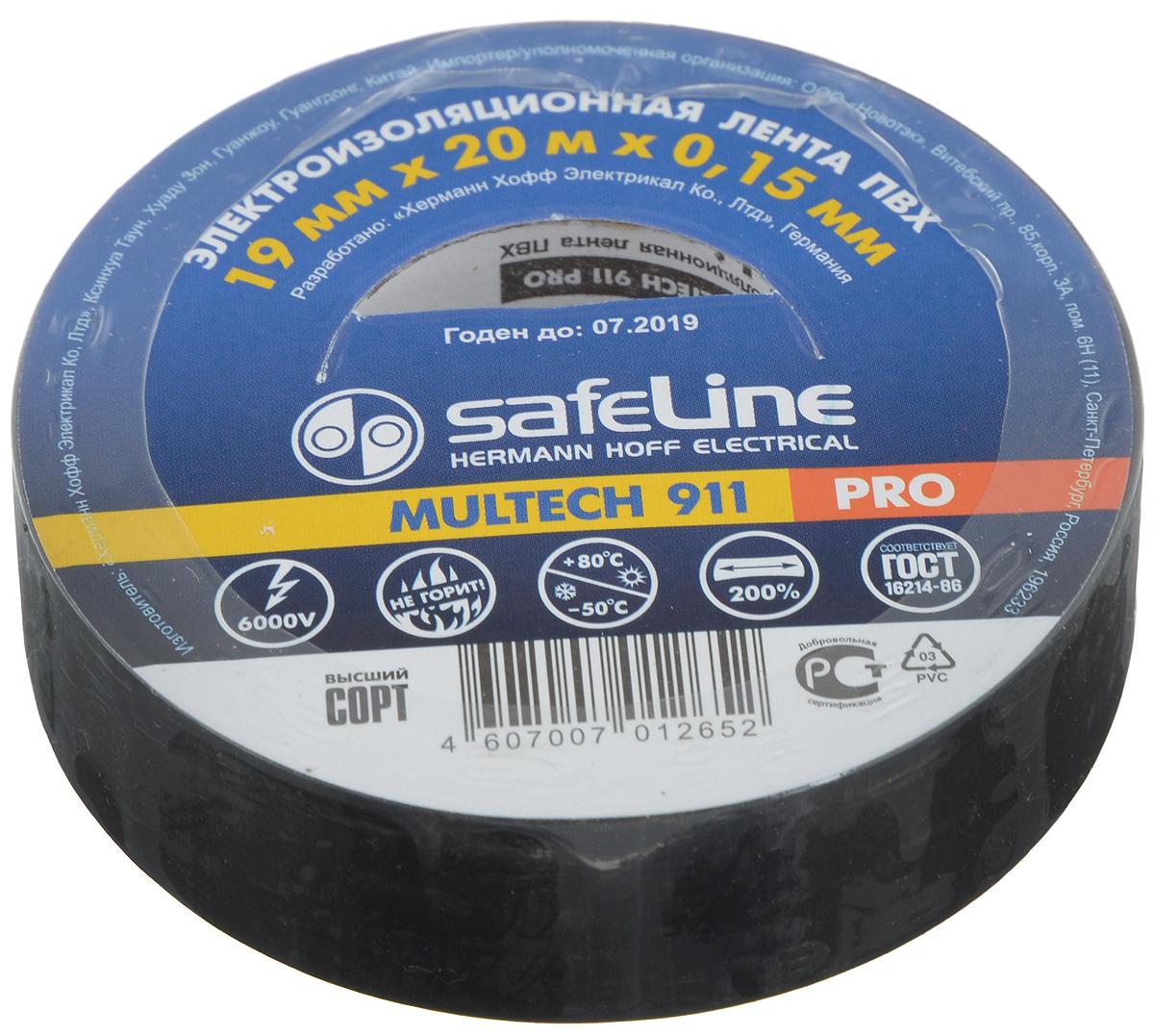 Лента изоляционная Safelin Pro, цвет: черный, ширина 1,9 см, длина 20 м00214-20.000.00Изоляционная лента Safelin Pro сделана из поливинилхлорида - материала, известного своей эластичностью и прочностью. Изолента применяется для изоляции проводов и проведения электромонтажных работ, отлично подходит для маркировки проводов и служит средством для починки бытовых электроприборов.Safelin Pro обладает рядом преимуществ:- напряжение пробоя 6000V,- не горит,- выдерживает температуру от -50°С до +80°С.