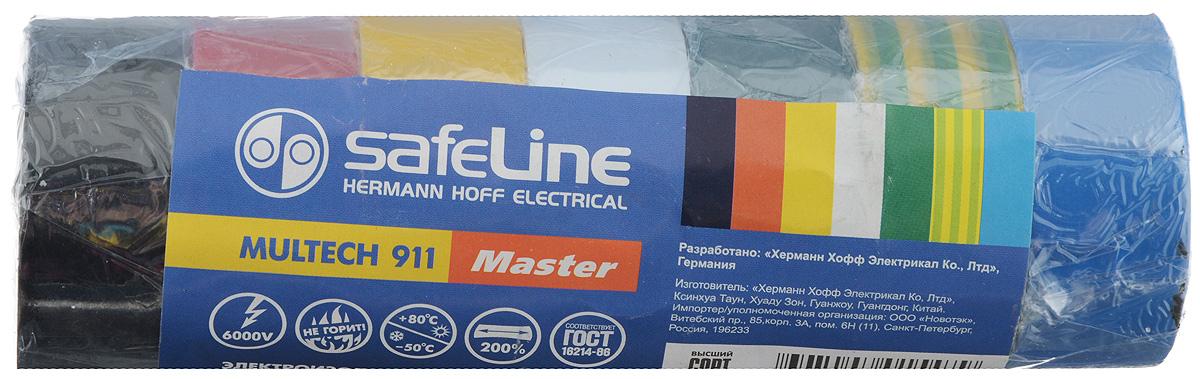 Лента изоляционная Safelin Master, ширина 1,9 см, длина 5 м, 7 шт11942Изоляционная лента Safelin Master сделана из поливинилхлорида - материала, известного своей эластичностью и прочностью. Изолента применяется для изоляции проводов и проведения электромонтажных работ, отлично подходит для маркировки проводов и служит средством для починки бытовых электроприборов.Safelin Master обладает рядом преимуществ:- напряжение пробоя 6000V,- не горит,- выдерживает температуру от -50°С до +80°С.