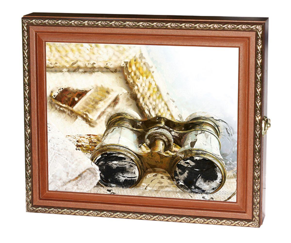 Вешалка-ключница Milarte Элегант, 25 х 30 х 5,5 см. KEV-111012DEC006WВешалка-ключница Milarte Элегант, выполненная из МДФ, украсит интерьер помещения, а также поможет создать атмосферу уюта. Ключница, декорированная оригинальным изображением, станет не только украшением вашего дома, но и послужит функционально. Она представляет собой ящичек, внутри которого предусмотрено 9 металлических крючков для ключей в два ряда. Дверца фиксируется к корпусу на крючок. Вешалка-ключница подвешивается на стену, крепежные элементы входят в комплект.Размер изображения: 24 х 19 см.