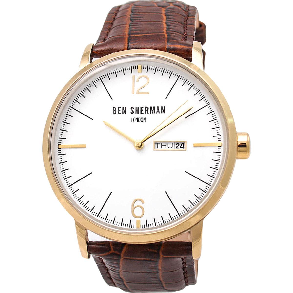 Наручные часы мужские Ben Sherman, цвет: коричневый. WB046TG8-2Трехстрелочный механизм Miyota 2105 c датой и днем недели; IPG-покрытие; Размер корпуса 45 мм; Минеральное стекло; Белый матовый циферблат; Коричневый ремешок из натуральной кожи; Водозащита 3 ATM