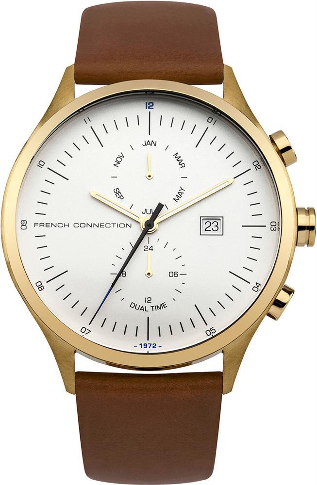 Наручные часы мужские French Connection, цвет: коричневый. FC1266TGBM8434-58AEМультифункциональный механизм ISA 9232 - 1930; IP Gold- покрытие; Размер корпуса 44 мм; Минеральное стекло; Матовый белый циферблат; Коричневый кожаный ремешок; Водозащита 5 АТМ