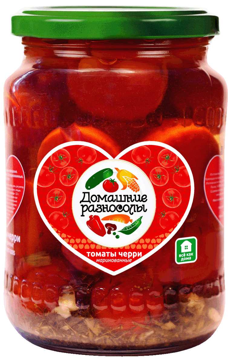 Домашние разносолы томаты черри, 720 мл0120710Эти маленькие помидорки можно использовать для приготовления различных овощных блюд и салатов, холодных закусок, ими можно дополнять рыбные и мясные блюда, есть как закуску и попросту украшать шедевры кулинарии.ГОСТ Р 52477-2005.