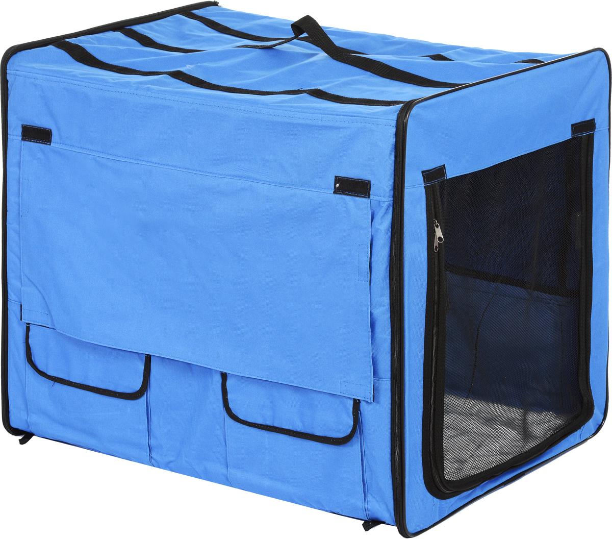 Клетка для животных Заря-Плюс, выставочная, цвет: голубой, черный, 75 х 60 х 50 см0120710Клетка для животных Заря-Плюс предназначена для показа кошек и собак на выставках. Она изготовлена из плотного текстиля. Клетка выполнена наполовину из сетки, которая при необходимости закрывается шторкой. В открытом состоянии сетку можно закрепить с помощью липучки. Изделие снабжено двумя небольшими карманами для мелочей и одним большим карманом. Одна из боковых частей палатки выполнена из сетки, которая пристегивается с помощью молнии. В комплект палатки входит съемное дно из ДВП и меховой матрац. При необходимости матрац легко снимается для стирки. В собранном виде палатка довольно компактна, при хранении занимает мало места. Палатка переносится в чехле, который входит в комплект. Для удобной переноски чехол имеет две короткие и одну длинную ручки, также на чехле имеется 2 больших кармана.