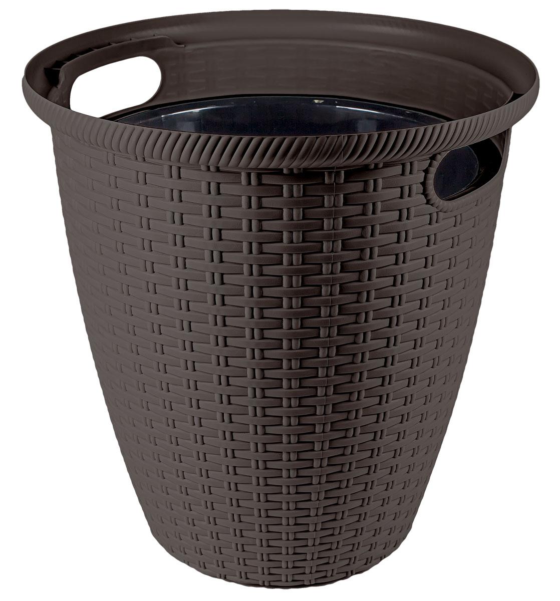 Кашпо InGreen Ротанг, напольное, цвет: венге, диаметр 32,8 см41624Кашпо InGreen Ротанг изготовлено из высококачественного пластика с плетеной текстурой. Такое кашпо прекрасно подойдет для выращивания растений и цветов в домашних условиях. Лаконичный дизайн впишется в интерьер любого помещения. Размер кашпо: 32,8 х 32,8 х 33 см.
