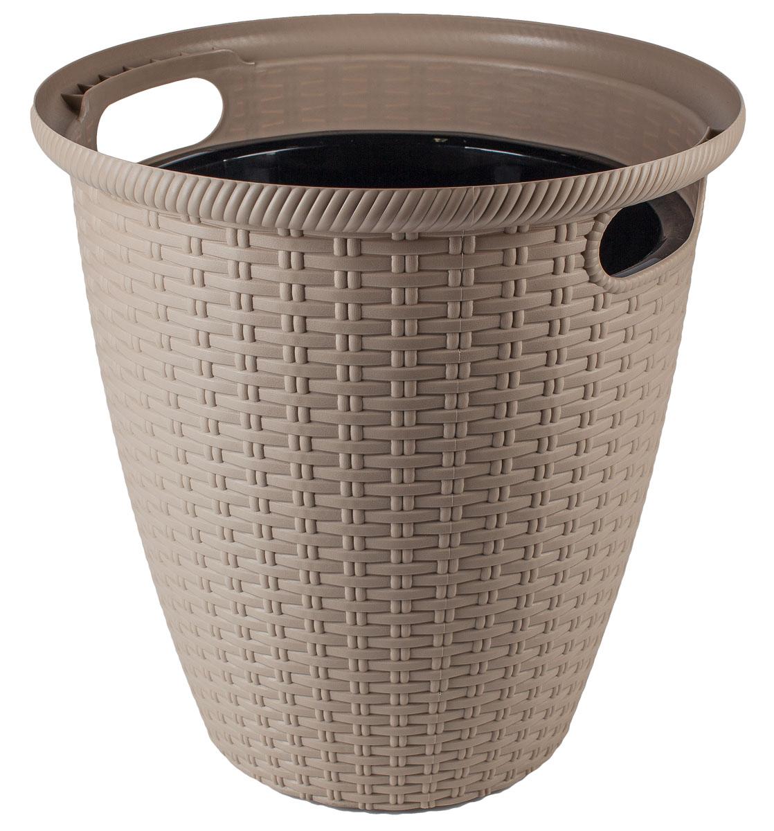 Кашпо InGreen Ротанг, напольное, цвет: шоколадный, диаметр 32,8 см391602Кашпо InGreen Ротанг изготовлено из высококачественного пластика с плетеной текстурой. Такое кашпо прекрасно подойдет для выращивания растений и цветов в домашних условиях. Лаконичный дизайн впишется в интерьер любого помещения. Размер кашпо: 32,8 х 32,8 х 33 см.