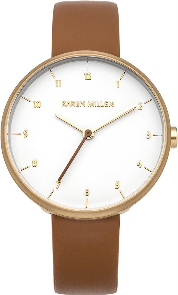 Наручные часы женские Karen Millen, цвет: коричневый. KM135TGBM8434-58AE3-стрелочный механизм 2035;IP Gold-покрытие; Размер корпуса 34 мм; Минеральное стекло; Белый глянцевый циферблат; Ремешок из натуральной кожи коричневого цвета; Водозащита 3 ATM
