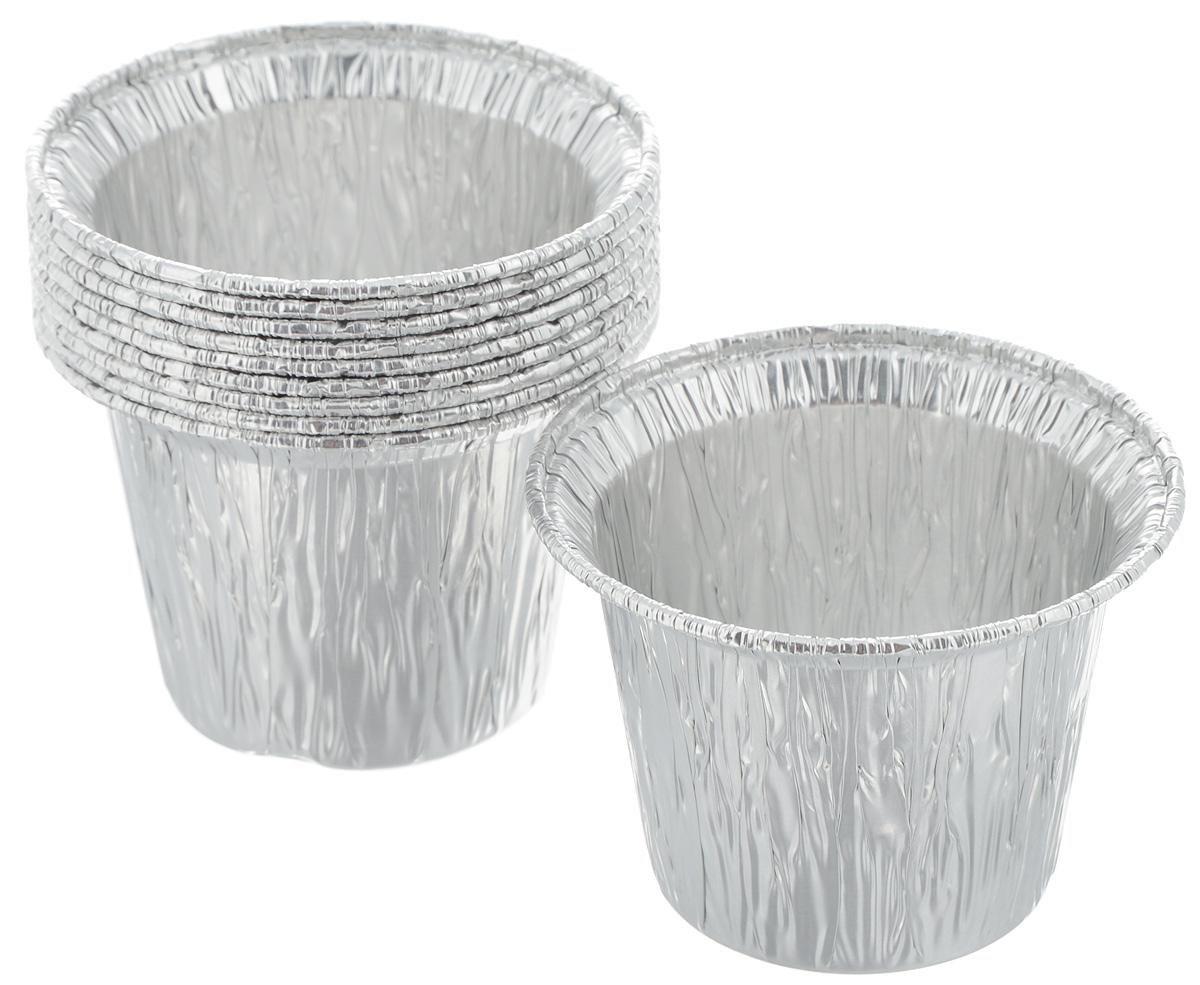 Форма для маффинов Paterra, цвет: серебристый, 8,6 х 5,5см х 3,7 см, объем=130мл 10 шт402-422Формы для выпечки Paterra изготовлены из алюминия. Пища в таких формах не пригорает и не прилипает к стенкам, готовое блюдо легко вынимается. Изделия прекрасно подойдут для выпечки и запекания, а также для замораживания. Такие формы станут полезным приобретением для вашей кухни. Формы выдерживают любые температурные режимы духовых шкафов. Размер формы: 5,5 х 7,5 х 7,5 см.