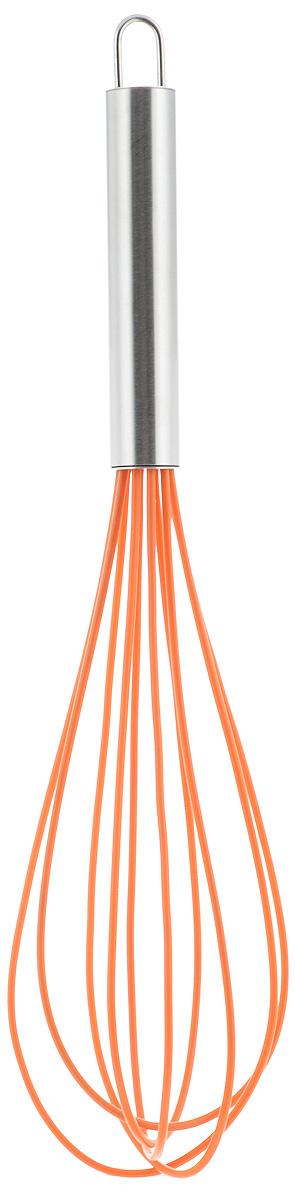 Венчик силиконовый Paterra, цвет: оранжевый, стальной, длина 30 см94672Венчик Paterra предназначен для качественного и быстрого взбивания сливок, теста, кремов, соусов, яиц. Он изготовлен из высококачественной стали и жароупорного силикона. Силиконовое покрытие венчика не повреждает поверхность посуды (тефлон, полированную нержавеющую сталь, фарфор, керамику и т.д.). Эргономичная ручка из нержавеющей стали определяет удобный захват и легкость движений, а идеальная форма венчика - залог качественного взбивания. Кроме этого, силиконовое покрытие не впитывает посторонние запахи и прекрасно промывается водой. Силиконовый венчик Paterra идеально подходит для взбивания как холодных, так и горячих ингредиентов.