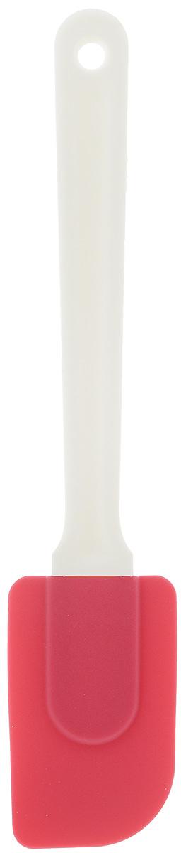 Лопатка кулинарная Paterra, цвет: малиновый, длина 25 см68/5/3Силиконовая лопатка Paterra очень удобна для переворачивания продуктов во время жарки и тушения, также она идеальна для размешивания теста и при подаче готового блюда на тарелки. Лопатка имеет длинную ручку, которая надежно защищает руки от ожогов раскаленным маслом. Рабочая част лопатки изготовлена из силикона, не прилипает к пище, не царапает любое антипригарное покрытие посуды, отлично промывается водой. Высококачественный силикон в составе изделия позволяет лопатке Paterra выдерживать значительные перепад температур ( от -40°С до +250°С), поэтому она не оплывает при контакте с раскаленным маслом. Гибкость лопатки пригодится при работе с тестом, для размешивания и собирания теста со стенок посуды, при переворачивании тонких блинчиков на сковородке. Лопатка идеальна для нанесения и выравнивания крема на поверхности торта.