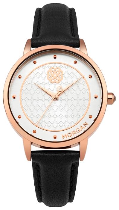 Наручные часы женские Morgan, цвет: черный. M1262CBGBM8241-01EE3-стрелочный механизм PC21; IP Rose Gold покрытие; Размер корпуса 38 мм; Минеральное стекло; Белый циферблат; Чешские кристаллы; Черный ремешок из натуральной кожи; Водозащита 3 ATM
