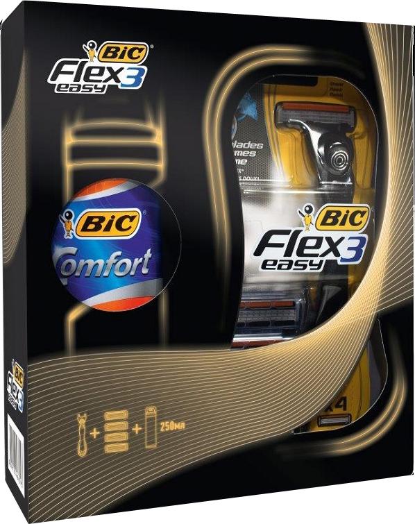 BIC Подарочный Набор: Бритва  Флекс Энд Изи , бл.4 + Пена для бритья 250 мл - Наборы