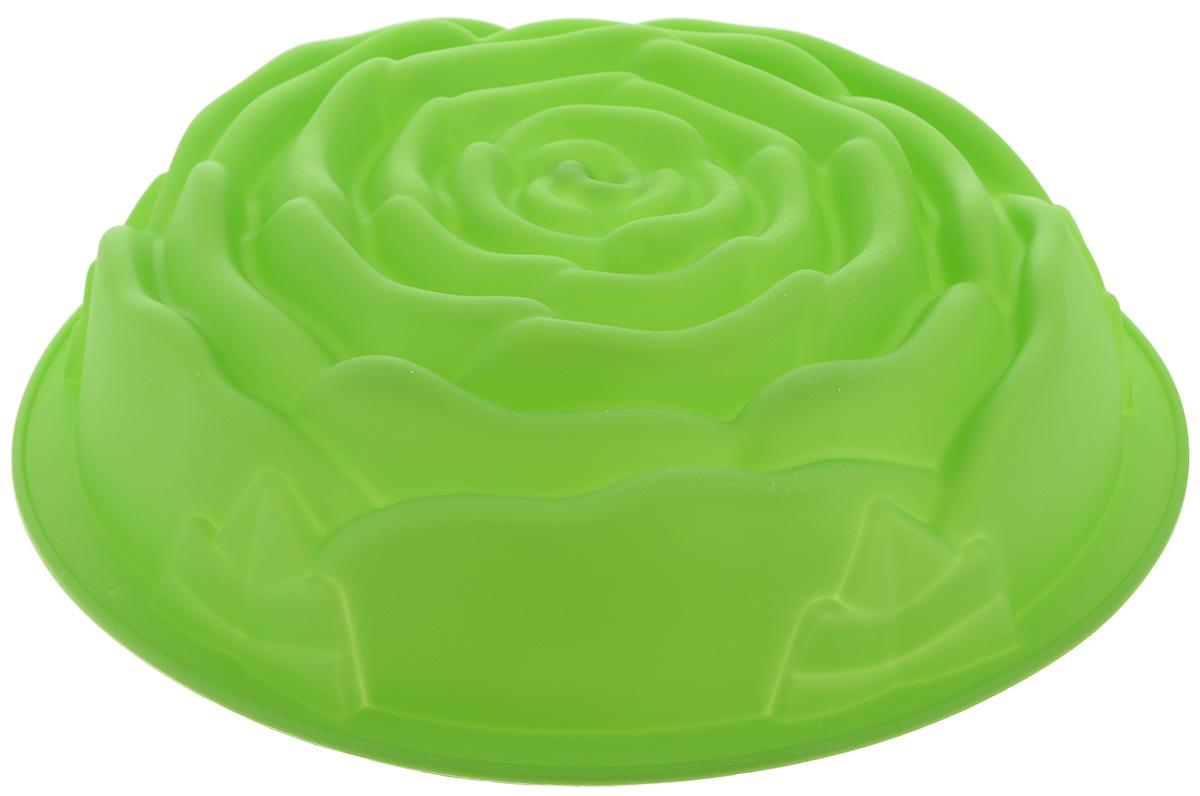 Форма для выпечки Paterra Роза, силиконовая, цвет: зеленый, диаметр 24 см402-501Форма для выпечки Paterra Роза изготовлена из высококачественного силикона. Стенки формы легко гнутся,что позволяет легко достать готовую выпечку и сохранить аккуратный внешний вид блюда. Силикон - материал, который выдерживает температуру от -40°С до +250°С. Изделия из силикона очень удобны в использовании: пища в них не пригорает и не прилипает к стенкам, форма легко моется. Приготовленное блюдо можно очень просто вытащить, просто перевернув форму, при этом внешний вид блюда не нарушится. Изделие обладает эластичными свойствами: складывается без изломов, восстанавливает свою первоначальную форму.Порадуйте своих родных и близких любимой выпечкой в необычном исполнении. Диаметр формы: 24 см.Высота стенки: 6,5 см.