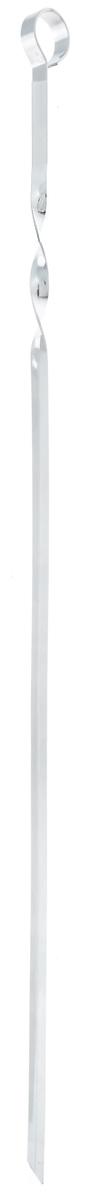 Шампур угловой ПИКНИЧОК, длина 60 см00000927Угловой шампур ПИКНИЧОК изготовлен из пищевой хромированной стали толщиной 1,5 мм с антикоррозийным покрытием. Шампур имеет удобную витую ручку, которая препятствует скольжению в пазах мангала. Безопасно заостренный кончик позволяет легко и просто нанизывать кусочки мяса, рыбы, овощей. Угловой шампур за счет своей удобной формы также идеально подходит для приготовления куриных окорочков и ребрышек.Толщина шампура: 1,5 мм.Ширина шампура: 1 см.